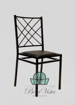 Cadeira de Ferro Empilhável Indiana Preta