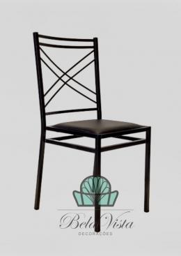 Cadeira de Ferro Empilhável Duplo x Preta